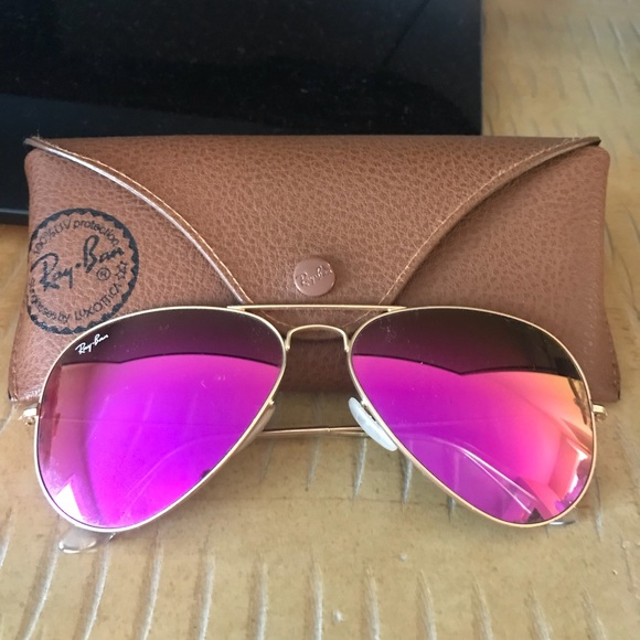 12097e83bb9458 Ray Ban Aviator Pink Mirrored Sunglasses. M 5b6c8c6cdcfb5a8482d2df11